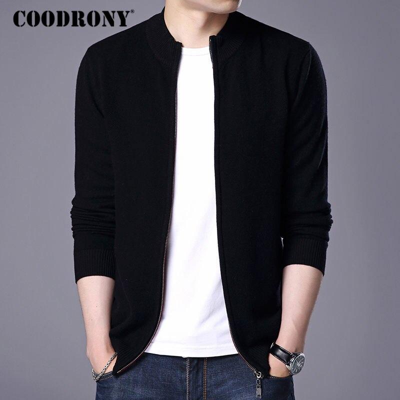 COODRONY Col Roulé Cardigan Hommes 2018 Nouvelle Hiver Chaud Épais Sweatercoat Hommes Mérinos Laine Cardigans Zipper Pulls En Cachemire 7319