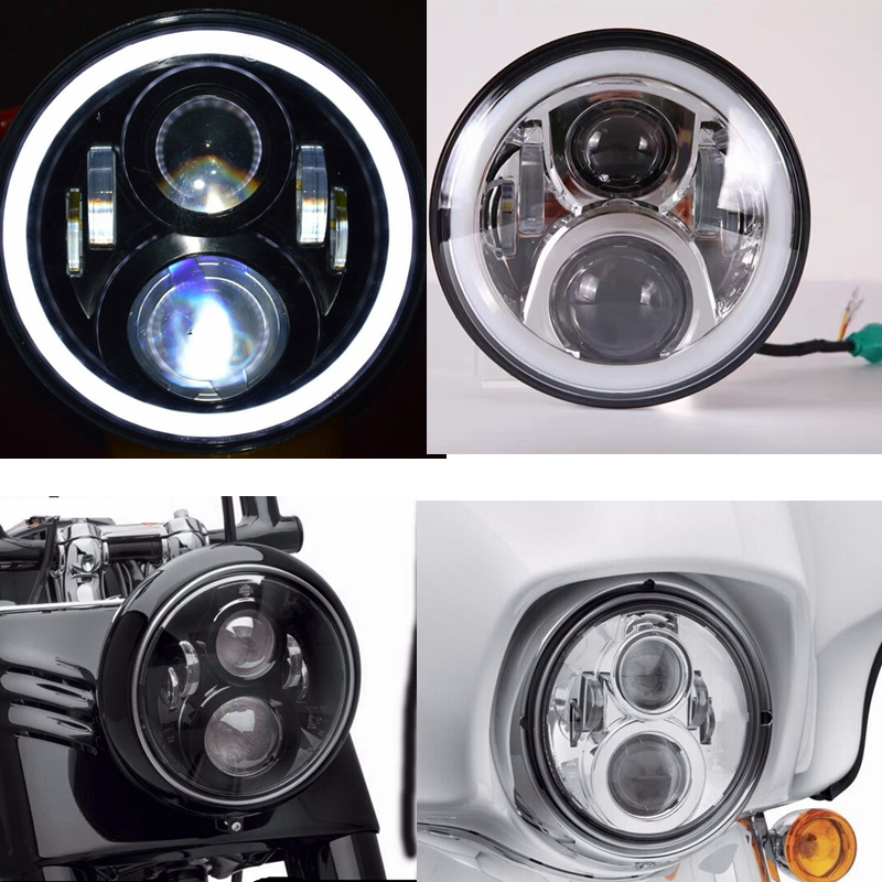 7 inch Round Motorcycle LED Headlight For Harley DRL with white Halo Angel Eyes H4 Motorcycle Headlight LED for Harley Chopper 2x no errors xenon white 50w p13w c ree led bulbs drl for 2008 12 audi b8 model a4 or s4 with halogen headlight trims
