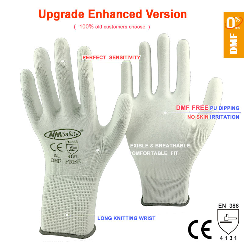 12 Pairs  Eco Mens Nitrile Work Safety Protection Cotton Gloves In Orange