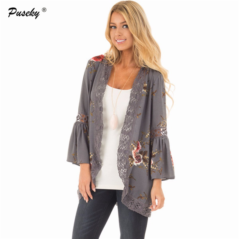 fashion floral kimono chiffon cardigan long sleeve women shirts print blouses lace patchwork. Black Bedroom Furniture Sets. Home Design Ideas