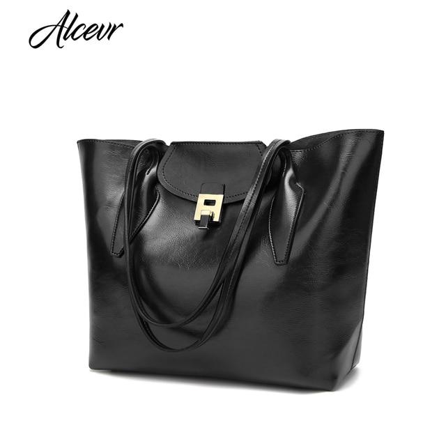 ALCEVR Vintage Fashion Lock Women Handbag PU Leather Bucket Shoulder Bag  Large Capacity Tote Crossbody Bag Women Bolsa Feminina daa92a6de6b5d