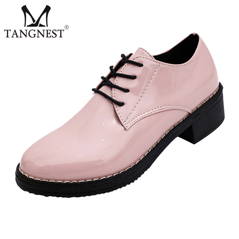 Korean style women oxford shoes fashion patent leather lace up women shoes casual round toe low Korean fashion style shoes