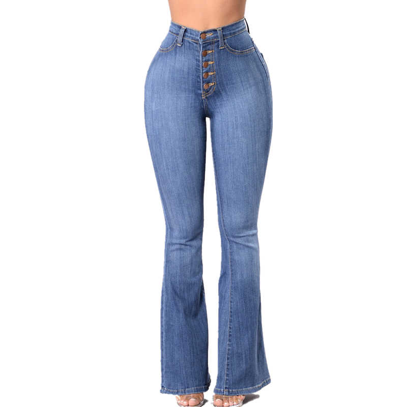 7bd7cf802 Retro High Waisted Flare Jeans For Women High Rise Bell Bottom Jeans  Stretch Slim Bootcut Jeans