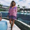 2017 verão quente venda de mini dress senhora impressão bohemian sweet férias short dress impressão floral bonito boho manga longa vestidos