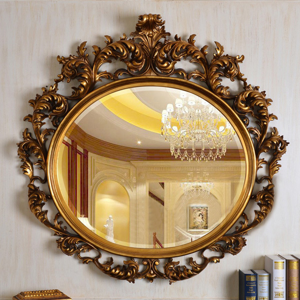 European Refined Carving Oval Mirror Antique Frame Luxury Decor Wall ...