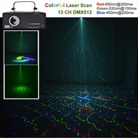 AUCD 450mW 5 In 1 RGB 3D Network Laser Program Source 13 CH DMX Projector Stage