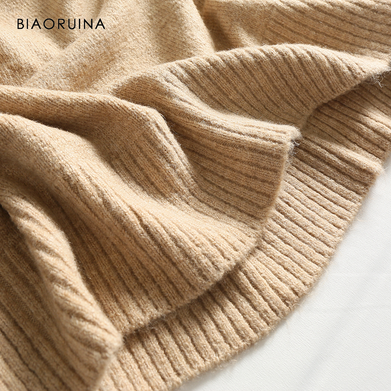 BIAORUINA Women's Fashion All-match Loose Knitted Sweater Ladies Casual Turtleneck Pullovers Bow Lace Up Warm Sweet Sweaters 7