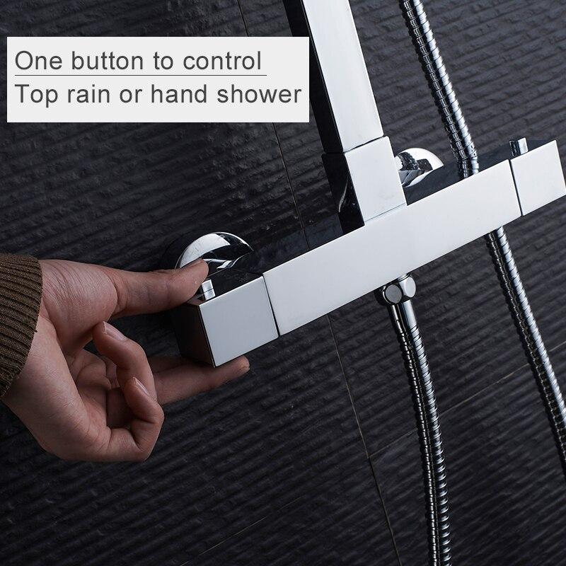 Ensemble de douche thermostatique ROVATE pour salle de bain, système de douche à robinet de bain à contrôle de température constante, laiton chromé - 2