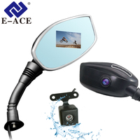 E ACE Motorcycle Dvr Rearview Mirror Camera Auto Digital Video Recorder Motorbike Dash Cam Dual Lens Camcorder Auto Registrar