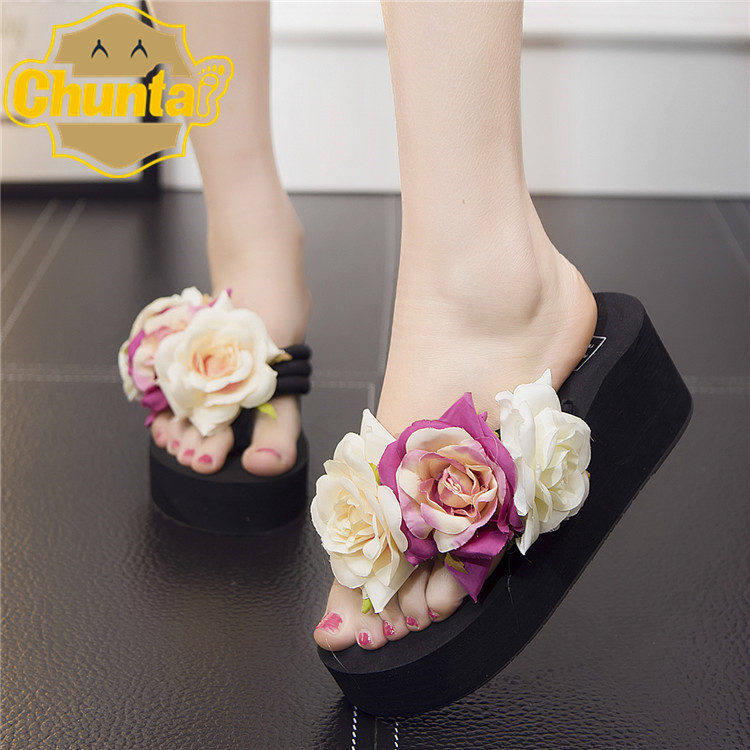 b76b5f9c3 Sale Top Summer Women Sandals Beach Women Slippers Shoes With Thick Wedges  Handmade Flower Women Classic Non Slip Flip Flops-in Slippers from Shoes on  ...