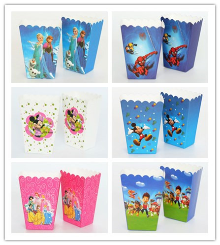6pcs Superhero /Ladybug /Avengers/ Minions/ Mickey Minnie Popcorn Box Kids Birthday Party Favor Party Deco Supplies