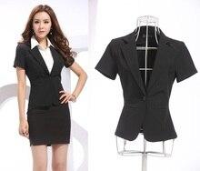 2015 nueva primavera verano moda delgado Formal Blazers Feminino uniformes ropa de trabajo Blazer chaquetas Blaser mujer faldas negro