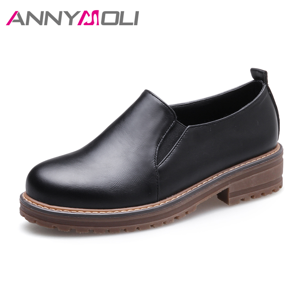 ANNYMOLI Flats Shoes Women Loafers Slip On Sewing Casual Shoes Round Toe Black Oxfords Shoes Female Flat Footwear Big Size 42 43 new shallow slip on women loafers flats round toe fishermen shoes female good leather lazy flat women casual shoes zapatos mujer