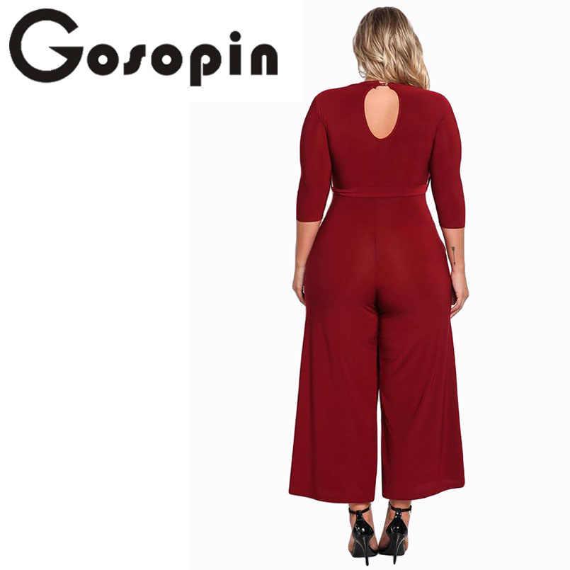 b0a9dc01b48 ... Gosopin Plus Size Rompers Women Jumpsuit Elegant Long Pants Sexy White  Jumpsuits Ladies Office Clothes Club ...
