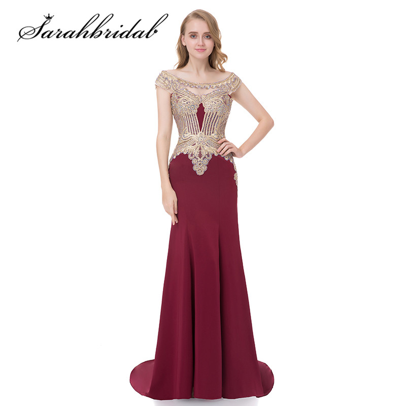Burgundy Mermaid Long   Evening     Dresses   Scoop Neck Sexy Sheer Back In Stock Embroidery Cap Sleeves Celebrity Prom Gowns CC401