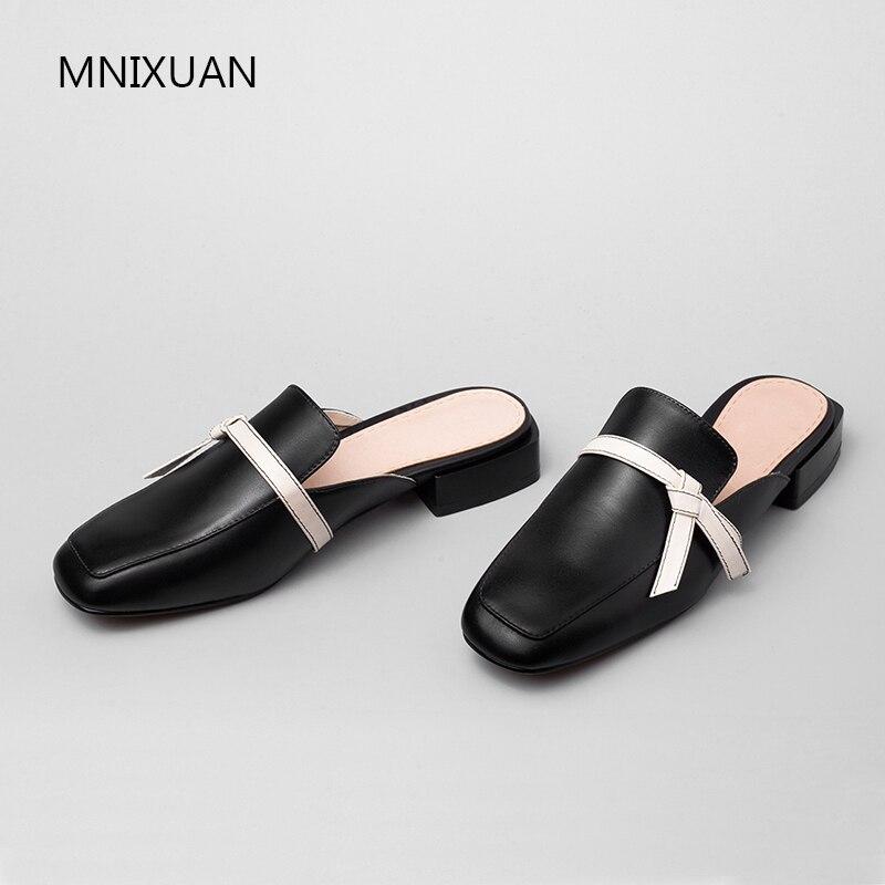 Cuero De Tamaño Hecho Bajo Mnixuan Del Mano Grande Tacón Zapatos 2019 Mujer Beige Real Nuevo Retro Dedo negro A Cuadrado Pie Mulas 40 PxqqICHw