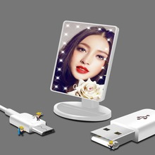 LED Lighted Makeup Mirror Night Light 24 Led Vanity Cosmetic Mirror Touch Screen Table lamp USB/Battery Adjustable Dimmable lamp dimmable hollywood makeup vanity mirror with light large lighted tabletop cosmetic mirror with 9pcs touch control led bulbs