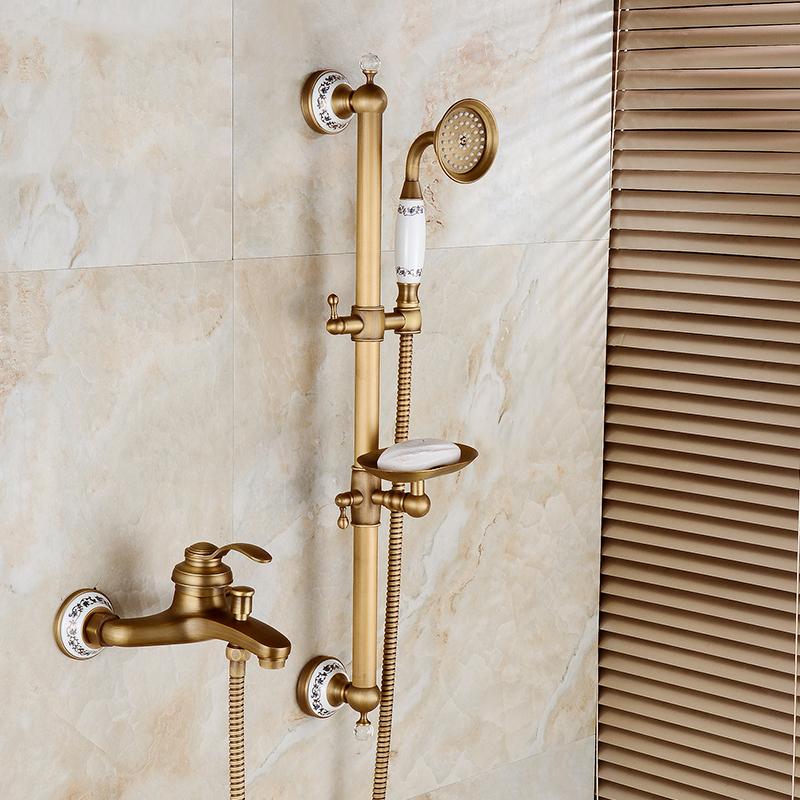 Wand Montiert Antikes Kupfer Bad Dusche Wasserhahn Dreht Wanne Füller  Keramik Stil Hebeschiebetür Bar Mit