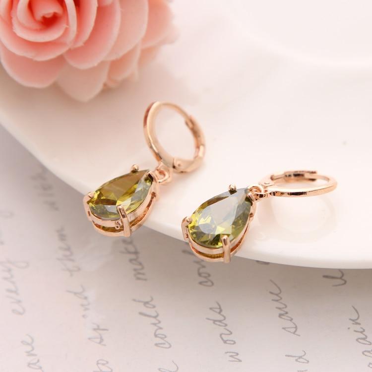 Women 18K Gold Plated Multi-color Flower Zircon CZ Oval Drop Earrings Jewelry