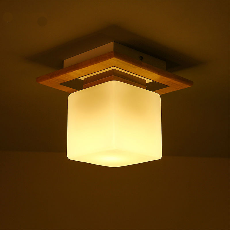 Japanese wood cubes ceiling light modern minimalist home for Ceiling lamp wood
