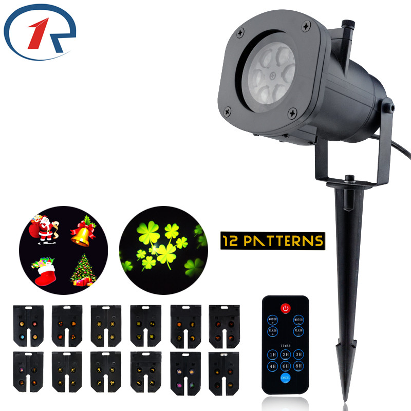 ZjRight IR Remote 12 Pattern colorful projection LED lights Waterproof LED stage light Birthday Christmas Halloween effect light christmas bell colorful light pattern stair stickers