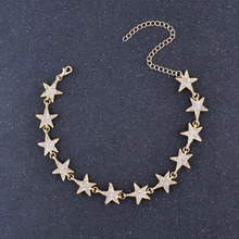 Fashion Crystal Stars Link Chain Choker Necklace Trendy Luxury Rhinestones Neck Collar Necklace Jewelry