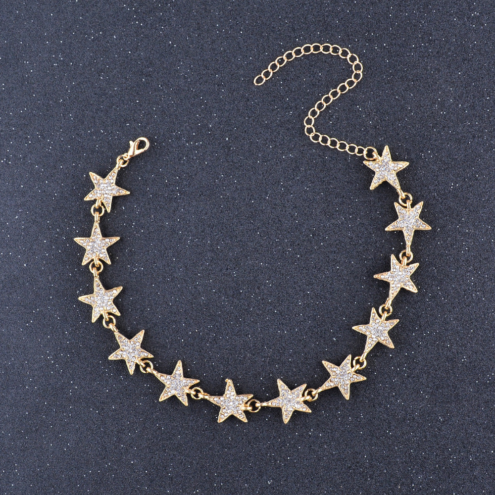 Fashion Crystal Stars Link Chain Choker Halskæde Trendy Luxury Rhinestones Neck Collar Halskæde Smykker