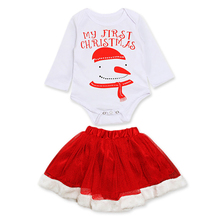 Christmas Newborn Cute Girl Dress 2Pcs/Set Baby Girls Clothes Toddler Girl Clothing Set Infant Snowman Costume Xmas Gifts 3-24M newborn baby girls christmas costume tutu dress my first christmas baby clothes set headband xmas socks new born baby clothing
