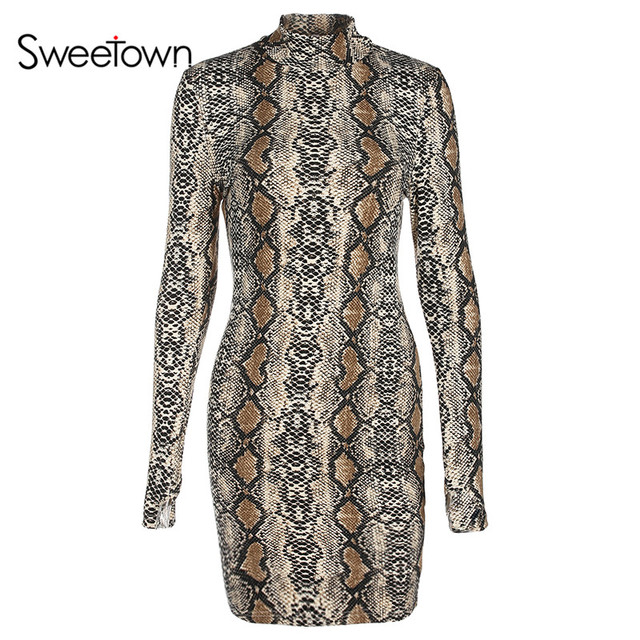 Sweetown Snake Print Long Sleeve Bodycon Dress Women Autumn Winter 2018  Vestidos Mujer Sexy Turtleneck Mini 8a2b3207acc3