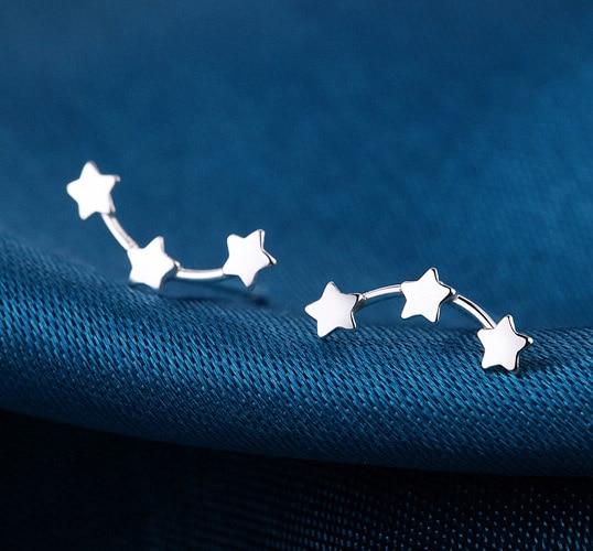1 Pair 2018 Fashion Jewelry Three Star Men Teens Stud Earrings for women Cute Star earri ...