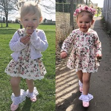 Puseky Pretty Floral Print Long Sleeve Girls Dress