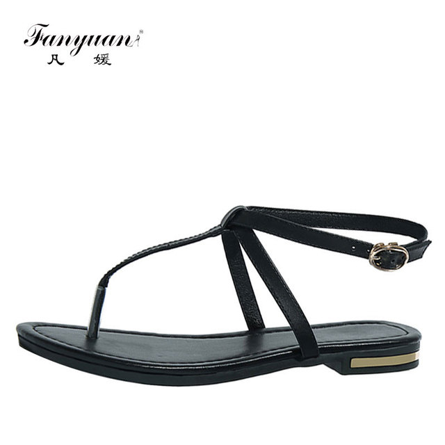 0446c0c2d4c Fanyuan Flip Flops Women s Flat Sandals Ankle Strap Shoes Ladies Summer  Footwear Concise Casual Soft Touch Beach Shoes 34-42