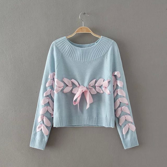 fashion women bow ribbon sweater young woman loose soft knitting sweaters  jumpers teenager lady sweater clothes-in Pullovers from Women s Clothing on  ... 98e4378b4