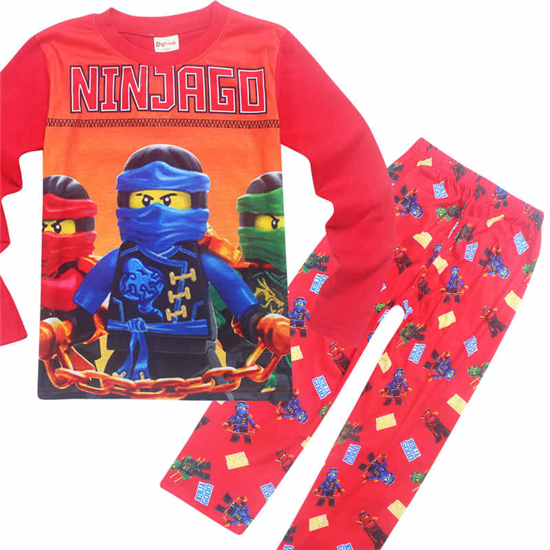 цена на HOT Boys Clothing Set Kids Sleepwear Pajamas Ninja Ninjago Pants + Print Cartoon Film Girls Long Sleeve Sleepwear Costume Set