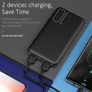 Image 2 - USAMS נייד 10000 mAh כוח בנק Slim חיצוני סוללה 10000mah עבור iPhone Xiaomi Huawei Oneplus כפולה USB מטען Powerbank