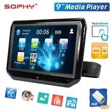 9 zoll Auto LED Kissen Kopfstütze Monitor Hinten Sitz Unterhaltung Multimedia Player MP4/MP5 Spiegel Link Abnehmbare Touchscreen