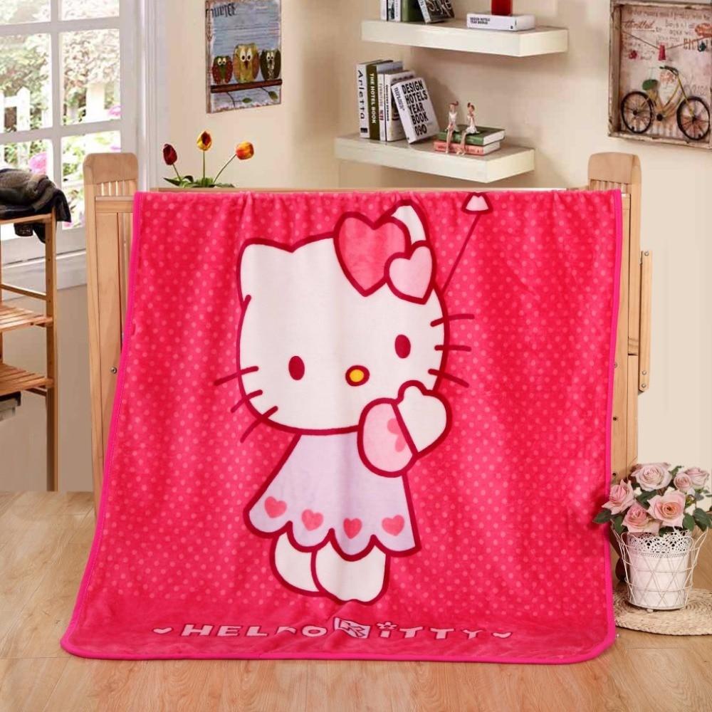 New Cartoon KT Warm Mini Blanket Soft Blanket on Bed Coral Fleece Warm Throw Blankets Travel Blanket for Kids Girls 70x100cm