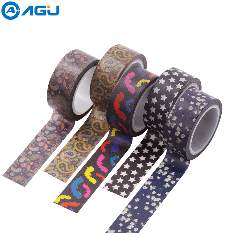 AAGU 1PC 15MM*5M Various Floral Washi Tape Design Stationery Decorative Masking Tape For DIy  No Residue Adhesive Paper DIY Tape
