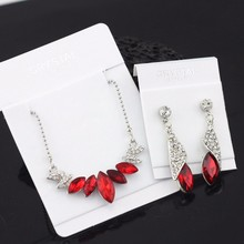 Wedding Bridal party Austrian element Crystal  Silver Color water drop Pendant Necklace Earrings Jewelry Sets