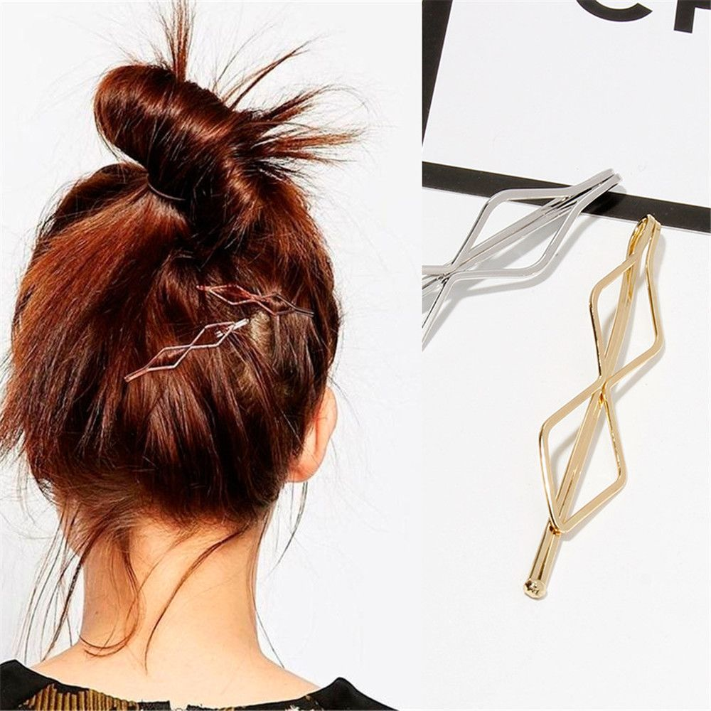 1Pcs Korea Simple Metal Hair Clips For Women Geometric Rhombus Gold Silver Color Hairpins Hair Accessories