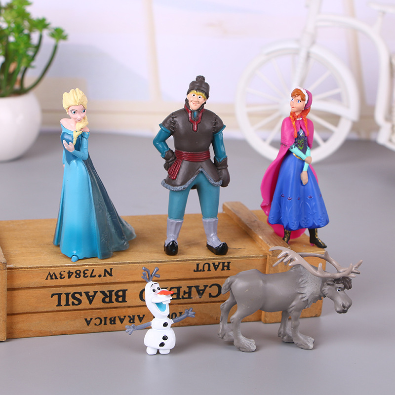 5pcs/Lot Disney Frozen Princess Anna Elsa Action Figure Toy Kristoff Sven Olaf PVC Model Dolls Collection Kid Birthday Gift Toys