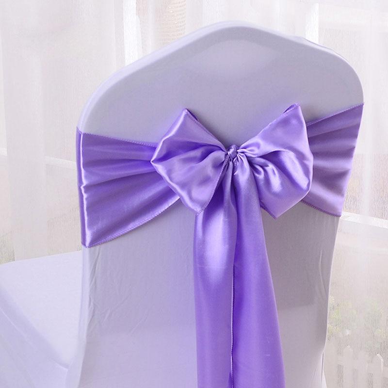 Cheap 100pcs lot 16 275cm Wedding Party Decorative Satin Bow Tie Ribbon Chair Cover Sash Bands