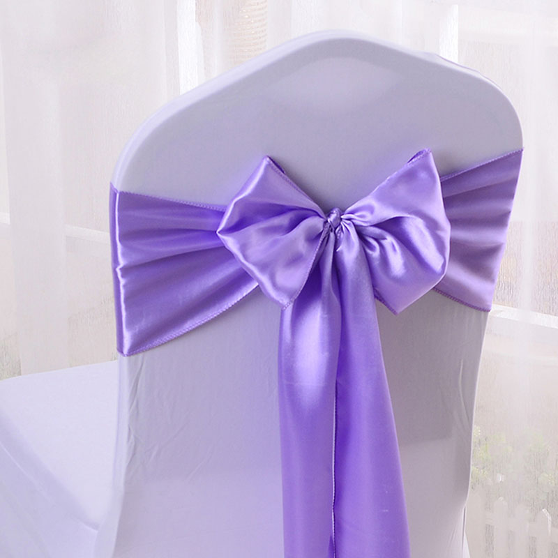 Cheap 100pcs/lot 16*275cm Wedding Party Decorative Satin Bow Tie Ribbon Chair Cover Sash Bands Hotel Banquet Chair Decor