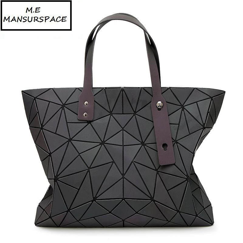 MANSURSPACE bao Bags Women Handbag Geometry Totes Sequins Mirror Saser Plain Folding Shoulder Bags Luminous bags Hologram bao bao clutch women baobao bag geometry sequins plain bags handbag famou brands design wallet in women wallets ladies bags