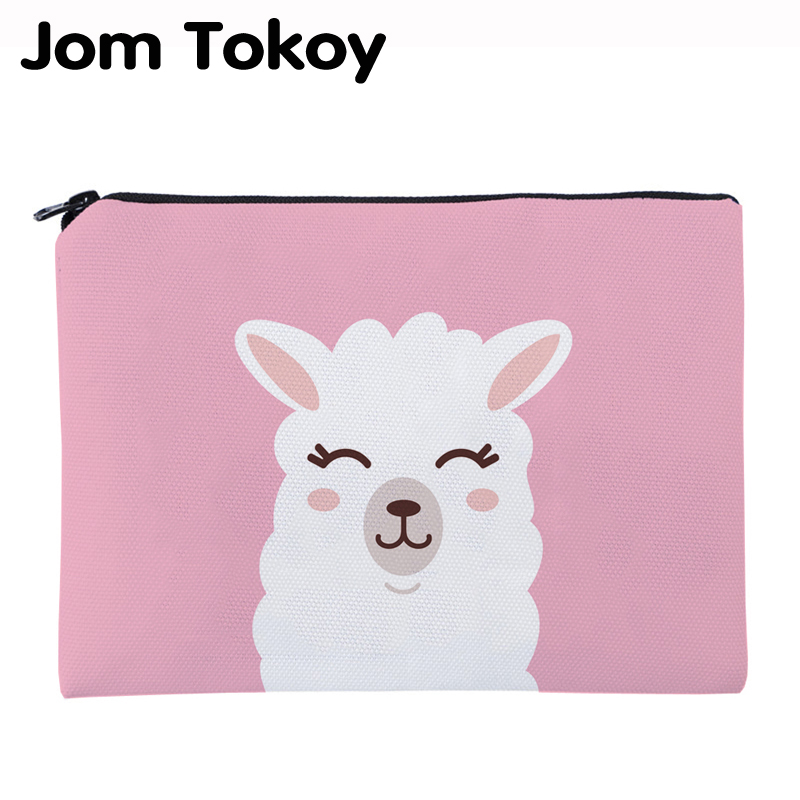 Jom Tokoy Printing Pink Alpaca Necessaries For Travelling Organizer Makeup Bag Women Square Cosmetic Bag With Zipper