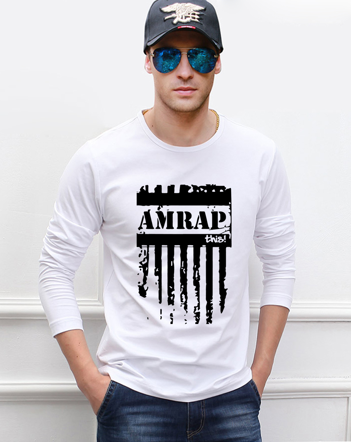 Fashion Amrap Crossfit men's long sleeve o-neck t-shirts 2019 spring 100% cotton high quality fitness man t shirt brand clothing