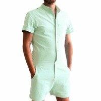 New 2018 Summer Unique Romper Men Linen Shirt Short Sets Single Breasted Jumpsuit Fashion Overalls Tracksuit Casual Cargo Pants