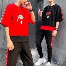 Loldeal Men Summer Tracksuits New Fashion Hip hop Casual Sweatsuits Jogger T-shirts+Sweatpants 2 pieces Sets