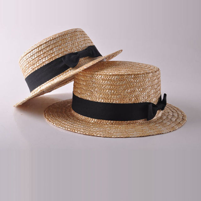 007cffb1e90 Fashion Women Girls Summer Boho Straw Sun Hat Bowknot Flat Wide Brim Beach  Cap Family Matching Caps-in Matching Family Outfits from Mother   Kids on  ...