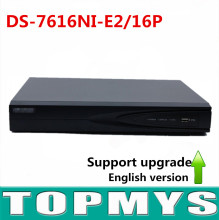 Бесплатная доставка Английская версия 16-КАНАЛЬНЫЙ POE NVR для Ip-камера HD 5MP Разрешение Записи DS-7616NI-E2/16 P 16 POE 2 SATA интерфейс
